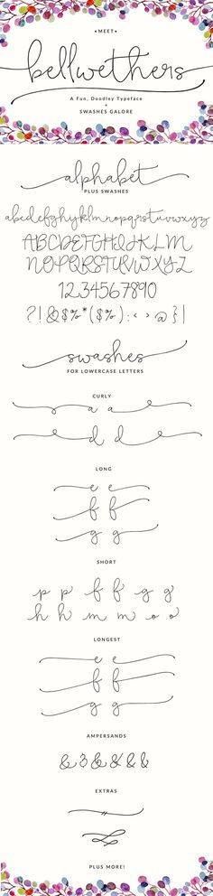 """ME ENCANTA ESTE FONT-algo así creo que sería bonito pero maybe es too playful para el logo. Creo que quiero algo más """"grown up"""". I pin it para que conozcas un poco mi gusto Meet the latest Angie Makes font... Bellwethers. This Modern Calligraphy, Doodely font is full of lovely swashes. It's fun to play with and use in those projects that need a fun little swash!"""