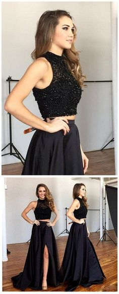 Black Two Pieces Prom Dress,Slit Prom Dress,Long Formal Party Gown,70128