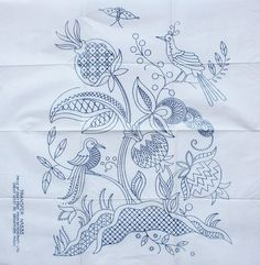 VINTAGE STITCHCRAFT LTD NO.535 LARGE JACOBEAN BIRD DESIGN EMBROIDERY TRANSFER