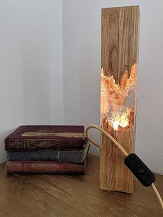 Lampe en bois époxy lampe de nuit décoration de table en   Etsy