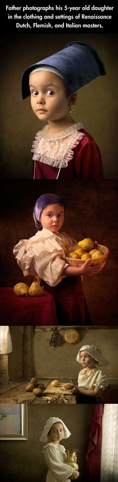 Father photographs his 5 year old daughter in the clothing and settings of Renaissance Dutch, Flemish, and Italian masters.