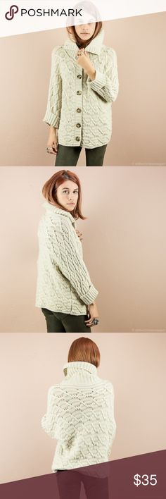Ann Taylor Cable Knit Sweater Ann Taylor cable knit sweater with fold over collar. Perfect winter neutral sweater, that's also comfortable and warm. 34%viscose, 30% wool, 22% nylon, 8% angora, 6% cashmere Sweaters Cardigans