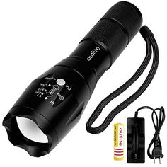 Outlite A100 High Powered Handheld Flashlight Rechargeable 18650 Battery and Charger Included Portable LED Tactical Flashlight with Adjustable Focus and 5 Light Modes Tac Light For Camping Hiking -- More info could be found at the image url. (This is an affiliate link)