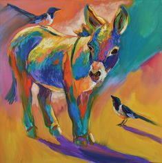"""Sideshow"" by Barbara Meikle What better way to capture the longer days and the lengthening shadows of desert sunsets than a bright donkey and it's two magpie friends?"