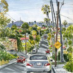 On Location: Exploring Los Angeles Neighborhoods by Virginia Hein Artist Journal, Artist Sketchbook, Urban Sketchers, Sketch Painting, Watercolor Sketch, Moleskine, California Colors, Street Pictures, Los Angeles Neighborhoods