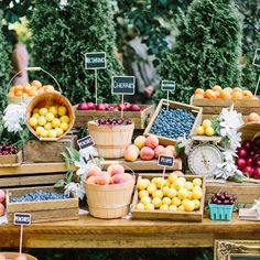 This couple encouraged guests to shop a mini fruit stand at their lunch-hour celebration! Photo by Andrew Mark Photography.