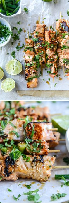 Thai Sweet Chili Salmon Skewers. Super easy, healthy and SO much flavor! I howsweeteats.com