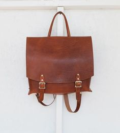 Leather & Canvas Messenger Backpack by QP Collections o