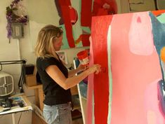 Claire Desjardins painting in her studio. Artist Life, Artist At Work, Collage, Space Crafts, Abstract Expressionism, Abstract Art, Art Studios, Art Tutorials, Painting Inspiration