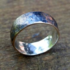 Bronze and Silver Ring Bronze Ring Hammered Ring by AmandaBrittin