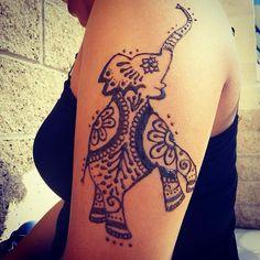 Cute Henna Elephant Tattoo Design Henna Elephant Tattoos, Cute Henna Tattoos, Elephant Tattoo Meaning, Elephant Tattoo Design, Leg Tattoos, Tattoo Catalog, Tatto Design, Animal Tattoos, Tattoos With Meaning