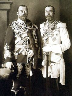 europeanmonarchies:  TSAR NICHOLAS II AND KING GEORGE V.Said to look so alike that they were often mistaken for each other, Nicholas II and George V were first cousins through their mothers Empress Maria Fedorovna and Queen Alexandra, daughters of King Christian IX of Denmark.