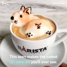 Kick off your morning with adorable latte art. Kick off your morning with adorable latte art. Cute Food, Yummy Food, Latte Art, Coffee Art, Drink Coffee, Coffee Blog, Iced Coffee, Coffee Cups, Milkshake
