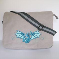 Canvas messenger bag, despatch bag,work bag,college bag,school bag,dragon bag,fantasy bag,zippered bag,shoulder bag,diaper bag,nappy bag. by JaneAtNumber13 on Etsy