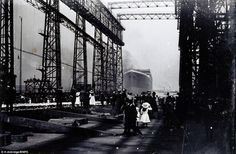 Haunting never-before-seen photographs of Titanic's launch go up for auction: Incredible images 'found in a cupboard' show doomed ship sliding into the water at a Belfast shipyard. Rms Titanic, Titanic Photos, Titanic Ship, Titanic History, Belfast, Titanic Underwater, Tadelakt, A Night To Remember, Modern History