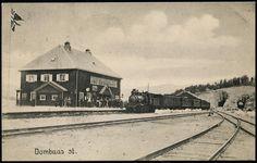 Oppland fylke Dovre kommune Gudbrandsdalen DOMBAAS STASJON, utgiver G. B. Fra sporsiden, med folk og tog. Brukt 1916