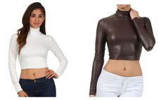 Features a high quality matte stretch fabric that looks like leather, mock neck turtleneck, long sleeves, slim fit and a variety of colors. #refashion #classy #beach #vacation #inspiration #embroidery #elegant #fashionblogger #fashion #fall #style #outfit