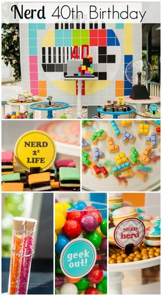 How about this nerd/geek 40th birthday party! Love the geeky cake and treats! See more party ideas at CatchMyParty.com. #nerd #geek #partyideas