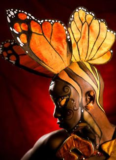 monarch butterfly head dress and face paint Butterfly Art, Monarch Butterfly, Fx Makeup, Fantasy Makeup, Beautiful Butterflies, Face Art, Oeuvre D'art, Face And Body, Wearable Art
