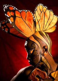 butterfly, head dress make up
