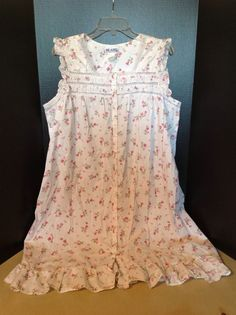 Blair White Pink Floral Vintage Style Large Nightgown #Blair #Gowns