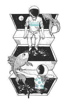 "Space guy and space girl play in their cosmic pond ""Space Between"" by Norman Duenas"
