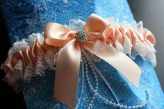 Ivory Peach Bridal Garter Set Ivory Lace Wedding by AlexEmotions