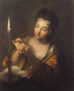 §§§ : La Brodeuse à la Bougie : Jean-Baptiste Santerre : 1658-1717