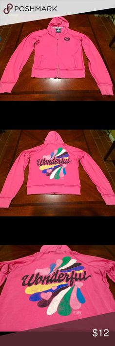 Classic Rare Pink Hoodie Used , it definitely been Worn , It's amazing Version of the first Pink Line , Size Medium , Missing String from the hoodie , Very Light Fabric PINK Victoria's Secret Sweaters