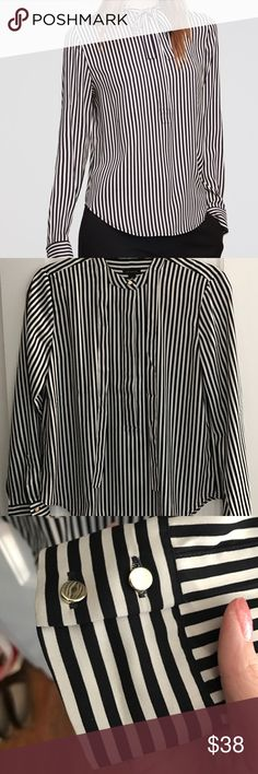 Ann Taylor silky bow tie blouse Worn once, perfect condition. Striped top with gold accents. White is a bit more of an off white than the stock photo.  Thank you for looking and feel free to ask any questions/make an offer! Please note that I do not trade and only accept offers through the offer button. Thank you again! Ann Taylor Tops Blouses