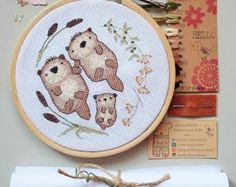 Otter family embroidery kit cross stitch otter family gift easy embroidery kit otter cross stitch family needlepoint DIY embroidery by LittleBeachHut Cross Stitch Needles, Cross Stitch Baby, Cross Stitch Kits, Cross Stitch Designs, Cross Stitch Patterns, Cross Stitch Embroidery, Embroidery Patterns, Embroidery Hoops, Needlepoint Patterns