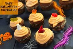 Easy Halloween Cupcakes - mummy mishaps