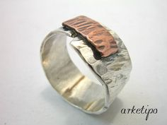 Personalized+hammered+Ring+of+sterling+silver+and+by+Arketipo,+€49.00