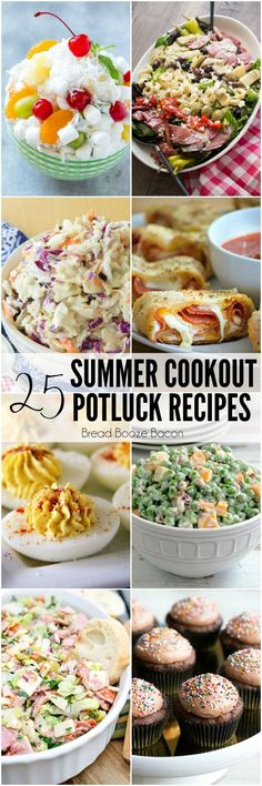 Grab your friends and get ready to eat! These 25 Summer Cookout Potluck Recipes are easy and delicious side dish, appetizer, and dessert options to take to your next potluck. All of these recipes travel well and are sure to make their mark on the buffet table. via @breadboozebacon