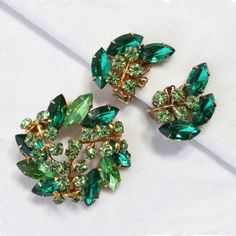 Beau Jewels Green Rhinestone Brooch and Earrings Set  Vintage Signed
