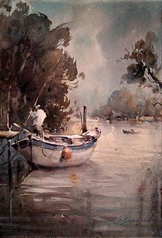"Dusan Djukaric,     ""Fisherman on Danube"",     Watercolor 38x56 cm"