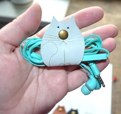 cat Cord organizers earbud holder leather cable gift white cat