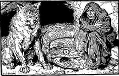 """The children of LOKI - Hel, the Fenris Wolf and Jormungand. From ""The Heroes of Asgard"" illustrations by C.E. Brock."