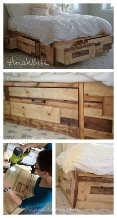 Free DIY Plans from Ana White! Build a Brandy Scrap Wood Storage Bed with Drawers Pallet Beds, Pallet Furniture, Furniture Projects, Furniture Plans, Home Projects, Furniture Storage, Furniture Design, Furniture Repair, Furniture Removal