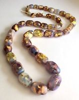 Vtge 1930s milky opalescent foil glass graduated bead necklace, for rethreading