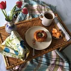 Breakfast in bed is the gift that keeps on giving! Vintage bamboo tray just added to shop!