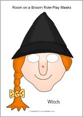 Large colourful Room on the Broom role-play masks - SparkleBox. Includes the witch ,dragon and animals.