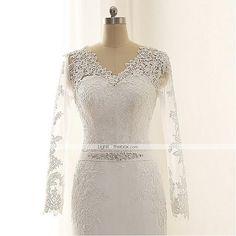 Vestido de Noiva-Marfim Sereia Em V Cauda Corte Chifon / Renda de 4939192 2016 por R$506,69