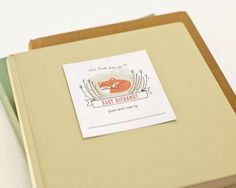 Adhesive book tags -- love this idea for a baby shower where people bring books instead of cards