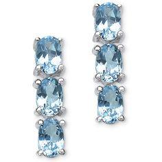 Plus Size Blue Topaz Drop Pierced Earrings in Sterling Silver