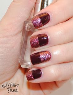 Mixed Texture Look from A Little Polish: OPI - Nail Envy, OPI - Mrs. O'Leary's BBQ, NOPI - Cinna-man of my Dreams