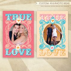 So Happy Together Bridal Shower - CUSTOM PRINTABLE Photo Signs (True Love - Pink & Blue). $12.50, via Etsy.