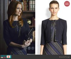 Abby's contrast trim jacket on Scandal.  Outfit Details: http://wornontv.net/39943/ #Scandal