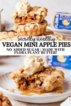 These super easy vegan mini apple pies are so cute and perfect for a simple and healthy single serving dessert! Full of gooey apples and the perfect pie crust that's undetectably vegan thanks to @floraplantbutter ! No sugar added filling, and easily gluten free! #madewithflora Dairy Free Pie Recipes, Mini Pie Recipes, Vegan Dessert Recipes, Tart Recipes, Gluten Free Desserts, Fruit Recipes, Banana Recipes, Healthy Desserts, Bread Recipes