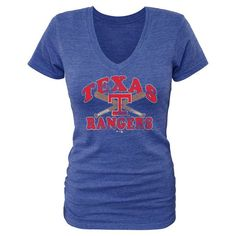 Texas Rangers Women's Cooperstown Collection Cooper Tri-Blend V-Neck T-Shirt - Royal - $32.99